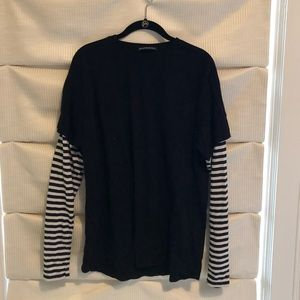 Brandy Melville striped shirt under black t-shirt